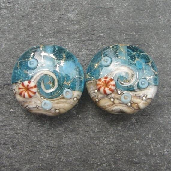 Lampwork beads 1037 Sprees (2) Ocean Waters
