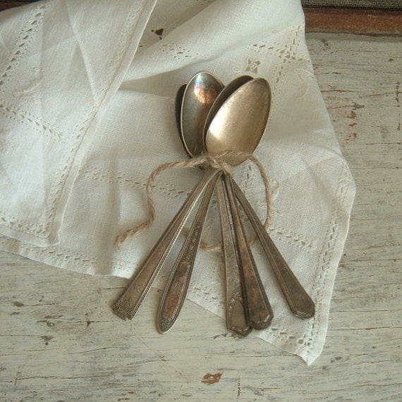 five old silverplate spoons