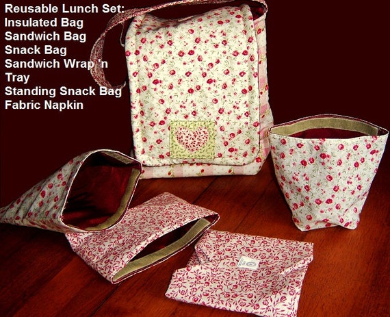 Updated Eco Friendly Picnic Lunch Set PDF Sewing Pattern. Instant Download. Lunch Bag. Sandwich Bag, Snack Bag. Fabric Napkin. Sandwich Wrap