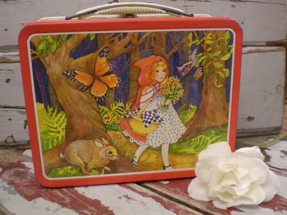 SALE,Red Riding Hood,Ohio Art,Vintage Child,Vintage Little Red Riding Hood Lunch Box,Fairy Tale, Retro Decor, Kitchen Decor