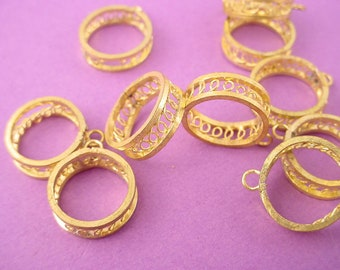 10 brass  cyliner  hoop  industrial coiled wire charms 14mm