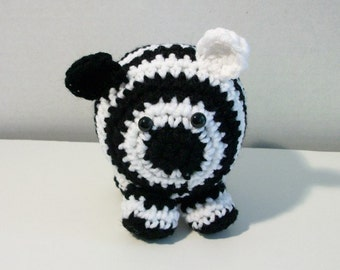 Crochet Plush Zebra - Zippy the Toy Zebra, Plush Toy Zebra - Zoo Zebra - Zebra Jungle Animal in Crochet - Roly-Poly Kawaii Zebra