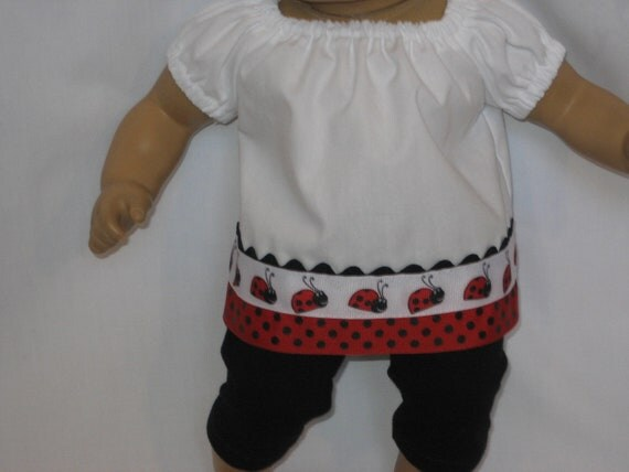 American Girl Doll Clothes - Ladybug Outfit for Bitty Baby