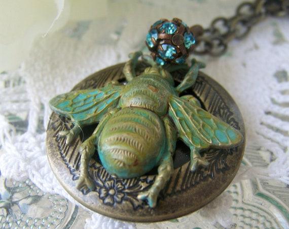 Bee Locket Necklace, antiqued, rhinestone