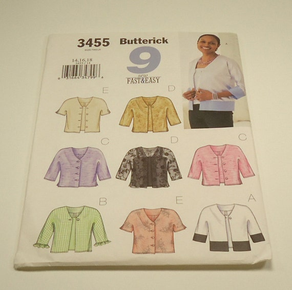 Butterick 9 Sew Fast And Easy Misses'/Misses' Petite Jacket And Top Pattern 3455 Size 14 16 18