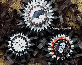 Instant Digital Download Halloween Rosettes  4 line Sheets Edgar Allen Poe  Raven Printable Rosette