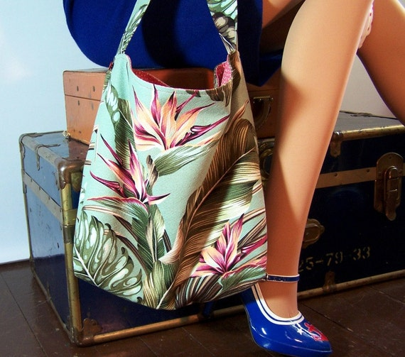 Market Tote Aqua Barkcloth Tropical Bark Cloth Fabric Shopping Bag