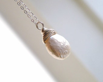Coin Pearl Pendant Necklace Wire Wrapped Sterling Silver