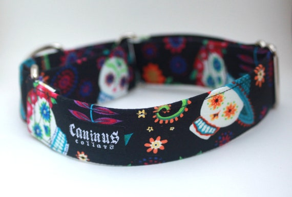 Floral Day of the Dead Dog Collar - Martingale & Buckle 3/4 - 2 Inch Width