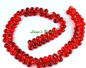 100 Siam Ruby Czech Pressed Glass Teardrops Bead 4x6mm -Use coupon code LUIGIS10 for 10% off