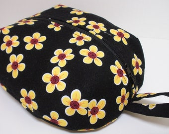Black and Yellow Floral Zippered Ditty Bag - Medium