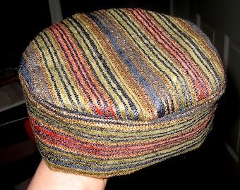 "Elegant Bucharian chenille striped kippah blue gold green rust tapestry yarmulke 23"" OR 24"""