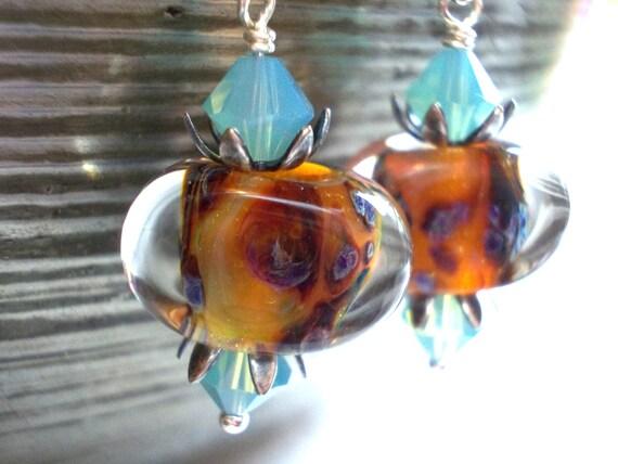 Mermaid Jewel Earrings purple amber artist lampwork beads on sterling silver oceanic sea shell organic urchin fish scales pacific opal
