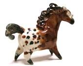 horse figurine - chestnut appaloosa - Autumn - porcelain animal