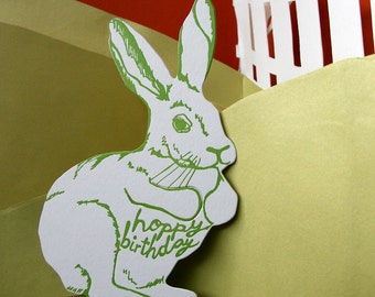 letterpress birthday card bunny die cut