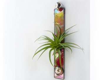 Stained Glass Air Plant Holder - Iridescent Red