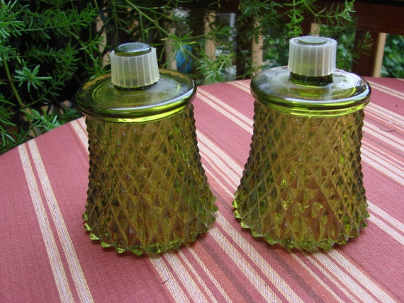 2 Vintage 1970s Avocado Green Diamond Point Home Interior Votive Cups Candleholders