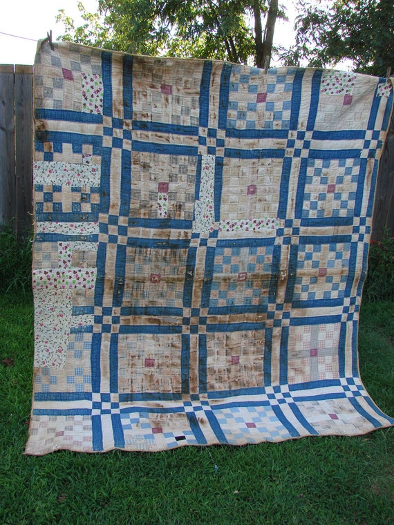 Vintage Early Blue Nine Patch Cutter Quilt Blue Gingham Back Neat Old Fabrics