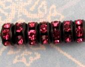 Rhinestone Rondelle Black Rose Pink 5mm 12 Pc. C242-2
