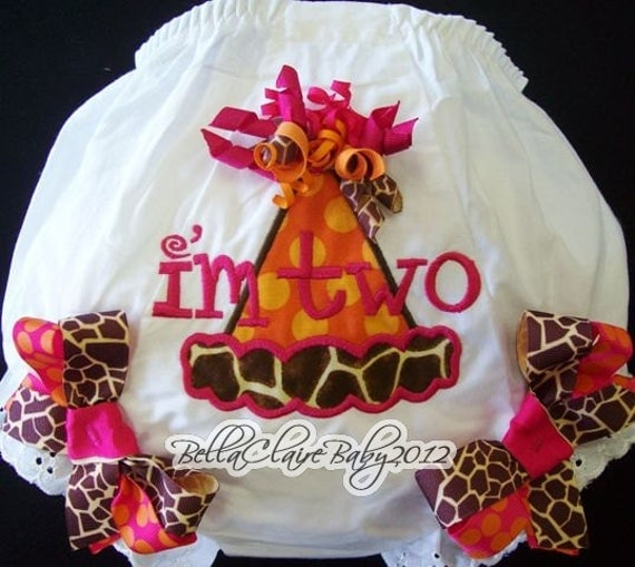 Ready to ship size 2t/3t only SASSY GIRAFFE Frills Birthday Hat monogrammed bloomers diaper cover for baby girl toddler