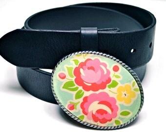 Belt Buckle Pink Posies Robins Egg Blue
