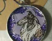 Collie Pendant, Purple Glitter Madness, Vintage Fun