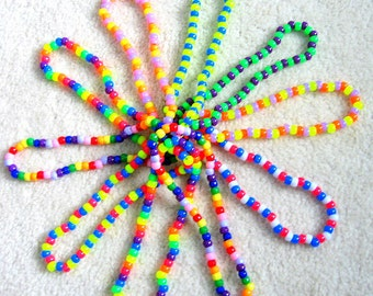 Kandi Necklaces, Neon Rave, Colorful, Rainbow