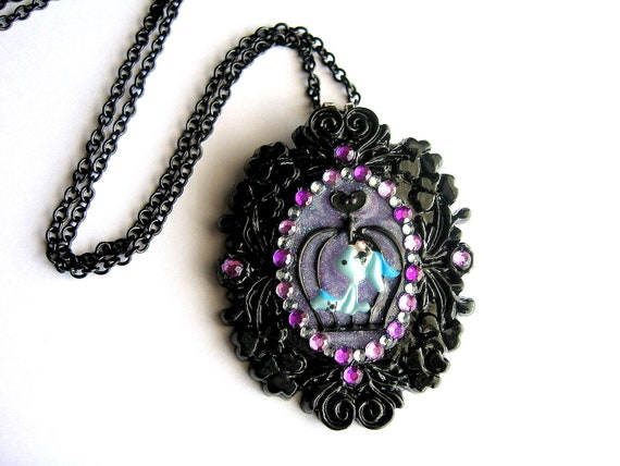 Alice in Wonderland Inspired Necklace, Caged Bunny Rabbit, Purple Kawaii Cameo