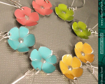 Tiny Gelato Flowers -- Upcycled Tin Earrings