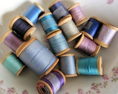 Vintage Wood Spools with Thread, Blues, Turquoise, Purples, Set of 16, Supplies