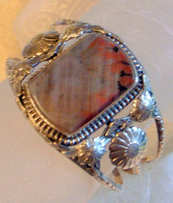Vintage Navajo Bracelet - Petrified Wood Cuff- Free US Shipping - SALE Wide Native American Sterling  - 7 Inch Wrist- Tribal SALE