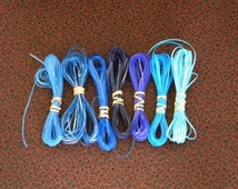 Lot of Rexlace boondoggle plastic lace gimp in BLUE colors 70 yards total