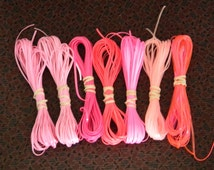 Lot of Rexlace boondoggle plastic lace gimp in PINK colors 70 yards total