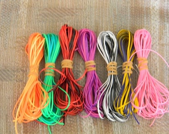 Lot of Rexlace boondoggle plastic lace gimp in DUO double colors 70 yards total