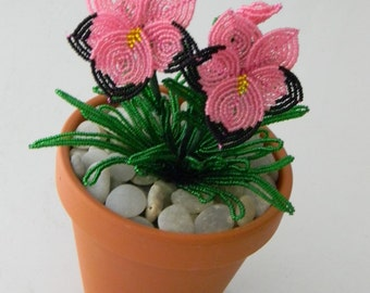 French beaded flowers Potted Pansy plant in clay pot 5 TO PICK FROM
