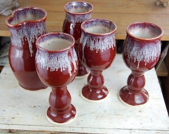 Set of Four Wine Goblets and Carafe in Red Agate