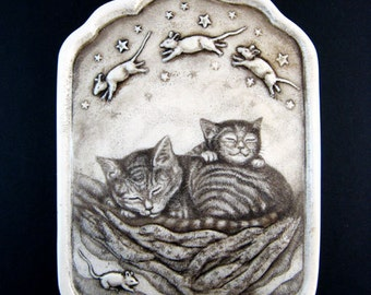Cat nap with mice dream on quilt wall plaque
