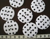10pcs of 34mm Big  Black and White Polka Dot Button