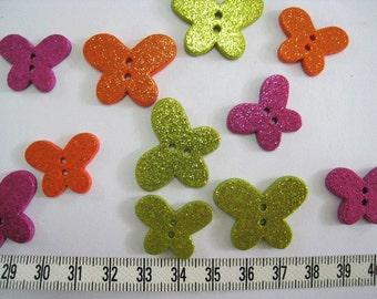 15pcs of  Glittering Butterfly Button LAST SET