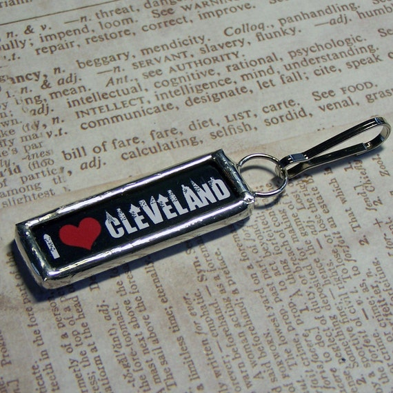 Soldered Art Charm 2 sided I love Cleveland Zipper Pull Pendant