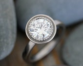 Moissanite Ring,  Engagement Ring, White Gold, Halo, Solitaire, Polished Gold and Milgrain Details, Conflict Free, Forever Brilliant