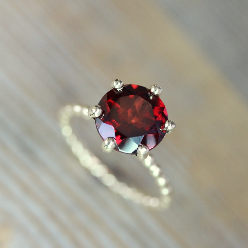Garnet Solitaire Ring Simple Setting