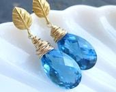 Swiss blue topaz post earrings gold vermeil 14k gold filled gemstone jewelry statement dangle something blue mermaid bride --Brienz--
