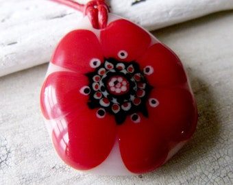 Daisy necklace, fused glass pendent, flower jewelry, red flower