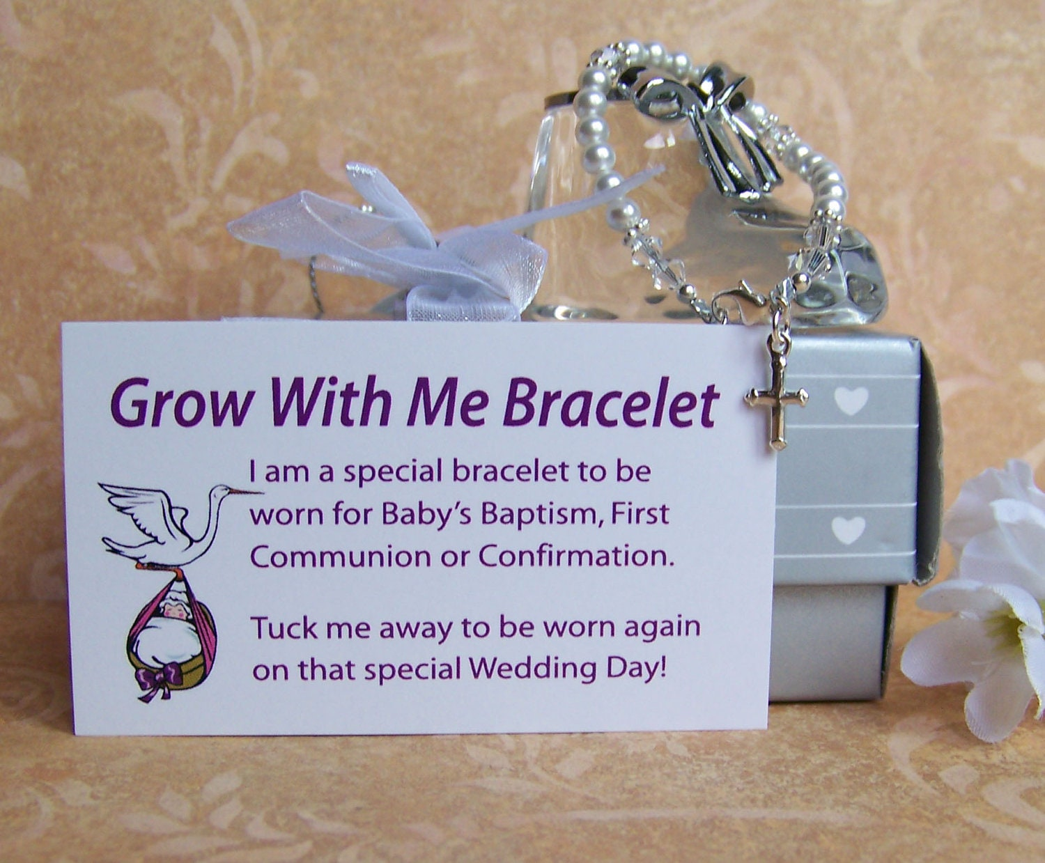Pamper Me Gift Ideas: Baby Girl Baptism Bracelet Grow With Me By Luckycharm5286