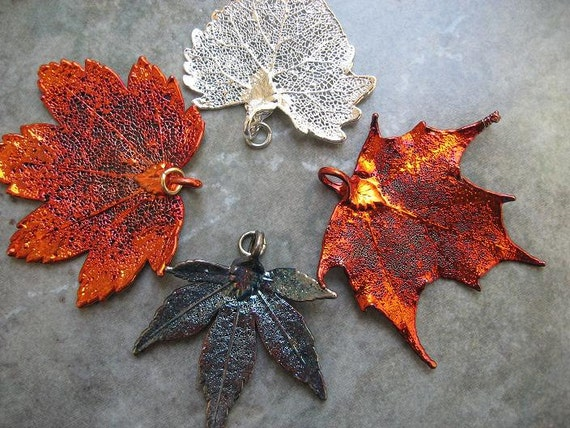 Real Leaf Pendants - Oxidized Silver - Iridescent Copper - Silver (Set of 4 leaves)