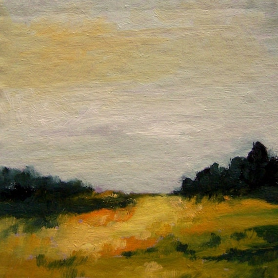 Original oil painting landscape small 100% charity donation, MINI 203 oil painting on cardboard, clouds, sky