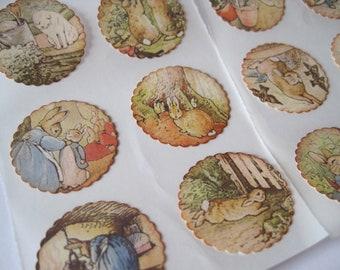 Vintage Style Baby Stickers - Baby Shower Invites  - Peter Rabbit - Beatrix Potter