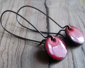 Dangle Earrings, Ruby Red, Copper Enamel Jewelry, Nickel Free Kidney Earwires, Love Note Red, Handmade Earrings