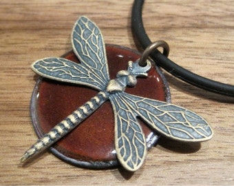 Chestnut Brown Dragonfly Jewelry, Copper Enamel Pendant, Necklace